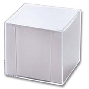 Zettelbox, gefüllt, 95x95x95mm, farblos, transparent, Inhalt: weiß
