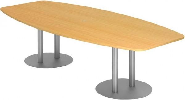 Konferenztisch 280x130/85Buche/Silber