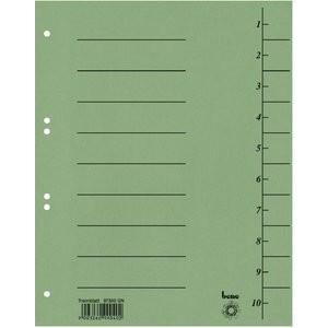 Trennblatt, Karton (RC), 250 g/m², 1-10, A4, grün
