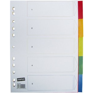 Register, PP, 0,12mm, blanko, A4, 5 Blatt, 5farbig