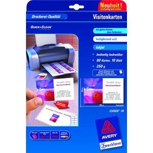 Visitenkarte Quick&Clean™, 250 g/m², 85x54mm, weiß, gl.
