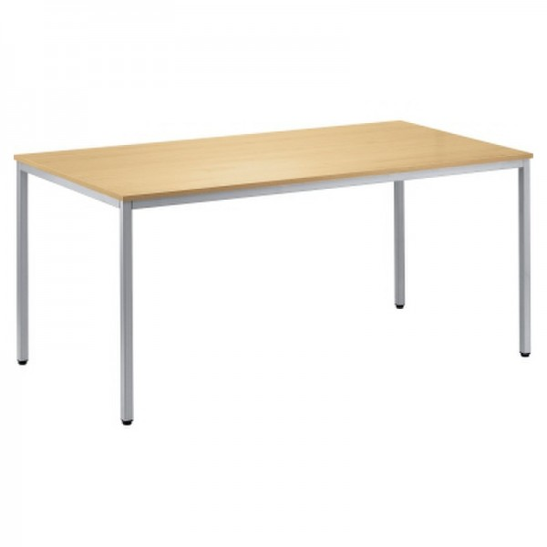 Konferenztisch 1.200x800mm Gestell alusilber Platte buche