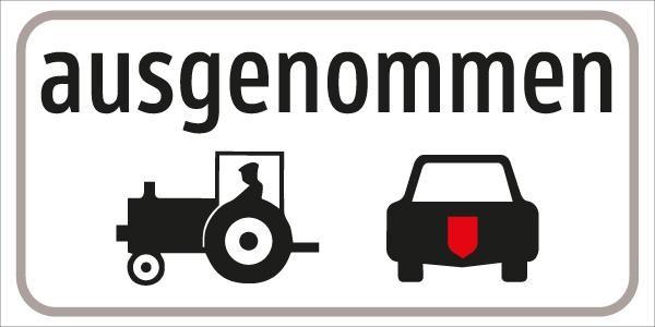 §54/5 ausgenommen Traktorund Microcar | flaches Verkehrszeichen