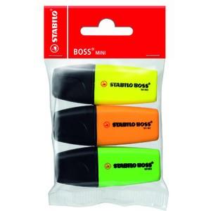 Textmarker BOSS® MINI, Ksp., 2 - 5 mm, Schreibf.: 3er sortiert