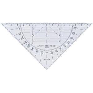 Geodreieck, PVC, ohne Griff, Hypotenuse: 16 cm, transparent