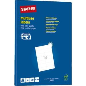 Etikett, I/L/K, A4-Bg., sk, Pap., 105x42,3mm, weiß