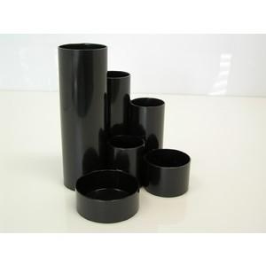 Köcher Schreibtischboy, Kunststoff, rund, 6 Fächer, schwarz