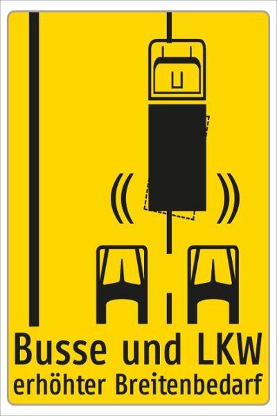 Hinweis auf erhöhten Breitenbedarf | flaches Verkehrszeichen