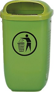 Abfallkorb nach DIN 30713 Grün,Mit Pfosten und Dreikantschlüssel