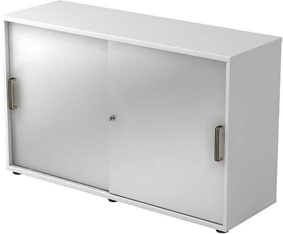Schiebetürenschrank 120x40x74,8cm Weiß/Silber