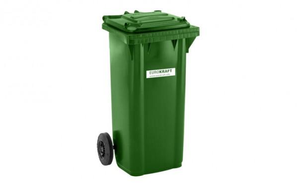 EUROKRAFT Großmülltonne aus Kunststoff, nach DIN EN 840, Volumen 120 l, Grün