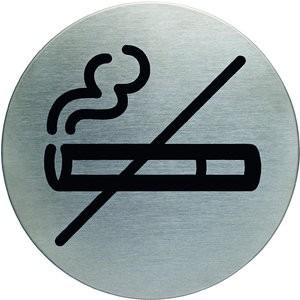 Schild PICTO, Rauchen verb., selbstklebend, Edelstahl, rund, Ø: 83mm