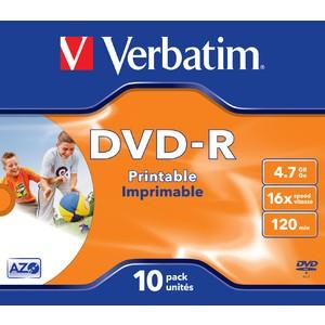 DVD-R, full printable, Jewelcase, einmalbeschreibb., 4,7 GB, 16 x