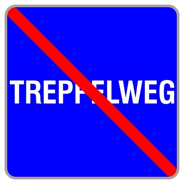 Treppelweg Ende | flaches Verkehrszeichen