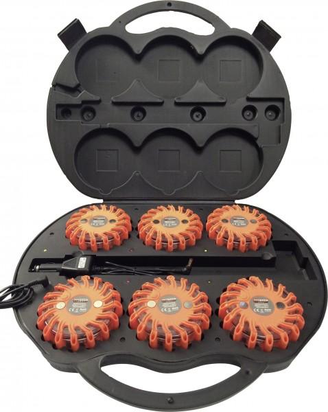 Profi Power 2420004 LED-Warnblinkeuchte 6er Set mit Ladekoffer (Ø x H) 105-Copy