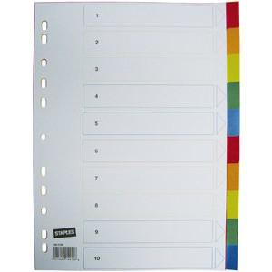 Register, PP, 0,12mm, blanko, A4, 10 Blatt, 5farbig