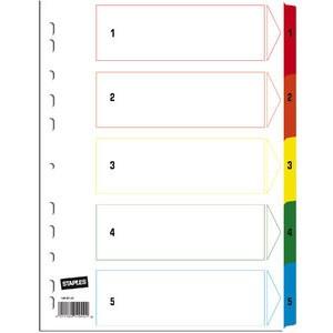 Register, Karton, 170g/m², 1-5, Eurolochung, A4, 5 Blatt, weiß