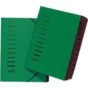 Ordnungsmappe, Karton, Eckspanngummi, A4, 12 Fächer, grün