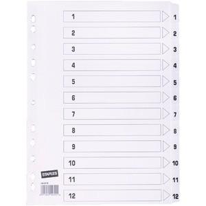 Register, Karton, 170 g/m², 1-12, Eurolochung, A4, 12 Blatt, weiß
