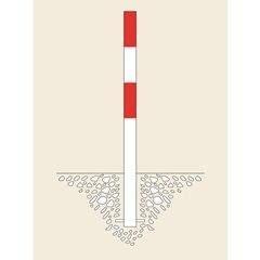 Sperrpfosten, zum Einbetonieren, Ø 76 mm, rot-weiß kunststoffbeschichtet, 2 Ösen