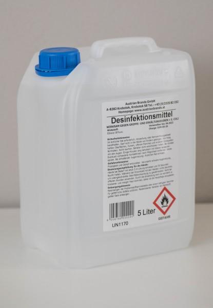 Hände- und Flächendesinfektionsmittel 80% Ethanol im 5l Kanister