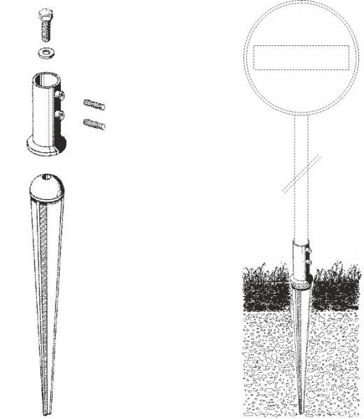 Erddorn verzinkt, für Rohre dm 48mm (mit Sechskantschrauben)