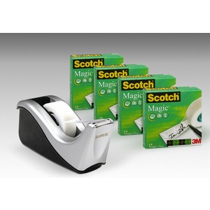 Tischabroller C60, si/sw, mit 4 Rollen Scotch® Magic™Tape 810