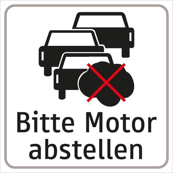 Hinweistafel Bitte Motor abstellen