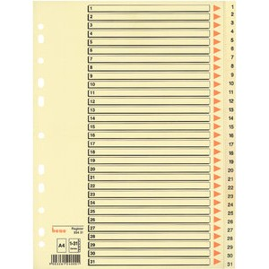 Register, Karton (RC), 210 g/m², 1 - 31, A4, 31 Blatt, chamois