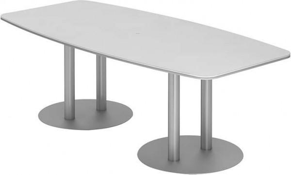 Konferenztisch 220x103/83Weiß/Silber