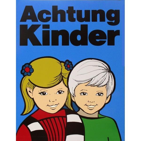 Achtung Kinder Tafel - 2 Kinder - Blau mit Wunschbanderole