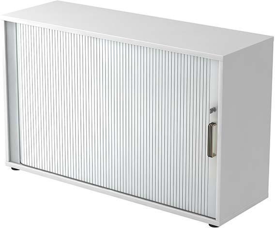 Rolladenschrank 120x40x74,8cm Weiß/Silber