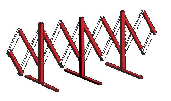 Holz-Scherengitter rot/weiß, ausziehbar, Höhe ca. 1100mm