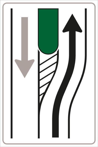 Vorankündigung einer Verkehrsinsel Bild 1 | flaches Verkehrszeichen