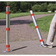Sperrpfosten, Alu-Rundrohr, abschließbar, mit Fußpedal und Automatik, Zylindersc
