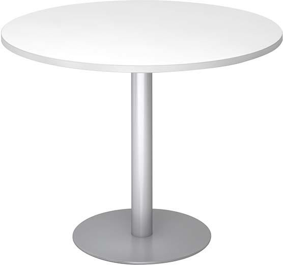 Besuchertisch Weiß/SilberD 1000mm