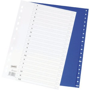 Register, PP, 0,12mm, A-Z, Euroloch., A4, 20Bl., blau