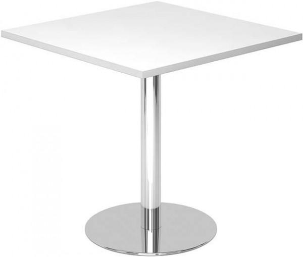Besuchertisch Weiß/Chrom 800x800 mm
