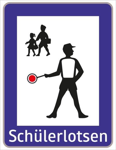 Schülerlotsen weiß/blau/schwarz | flaches Verkehrszeichen