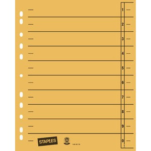Trennblatt, Kraftkarton (RC), 1-10, Eurolochung, A4, gelb