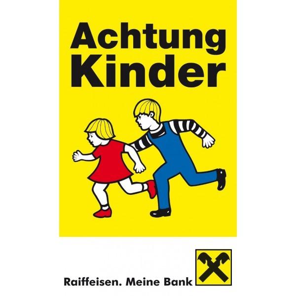 Achtung Kinder Tafel (2 laufende Kinder) mit Raiffeisen-Banderole