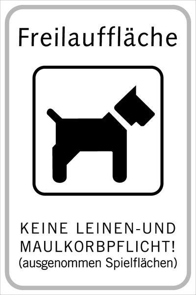 Hundetafel Freilauffläche | flaches Verkehrszeichen
