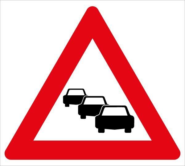 Achtung Stau | flaches Verkehrszeichen
