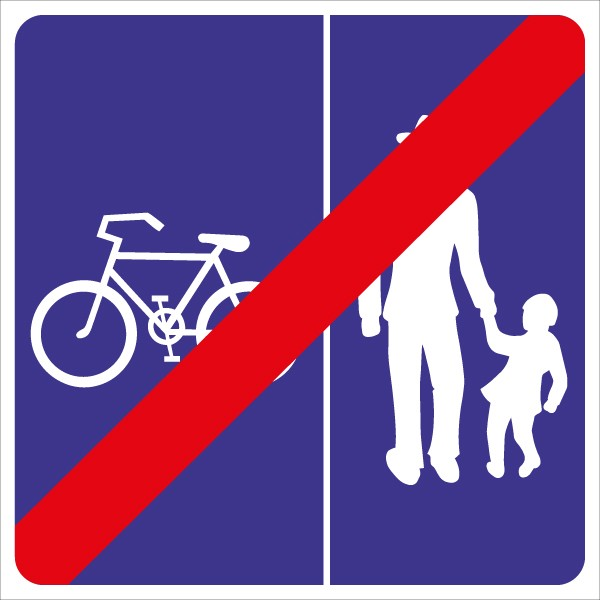 §53/29D Ende Geh – und Radweg ohne Benützungspflicht für Radfahrer - Rad links