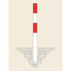 Sperrpfosten, zum Einbetonieren, Ø 90 mm, feuerverzinkt / rot reflektierend, 2 Ö