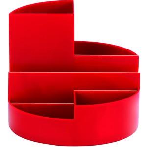 Köcher Rundbox, Kst., 140 x 125 mm, 4 Fächer, rot