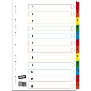 Register, Karton, 170g/m², 1-12, Eurolochung, A4, 12 Blatt, weiß