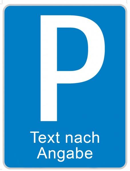 §53/1b Parkplatz + Text 2-zeilig | flaches Verkehrszeichen