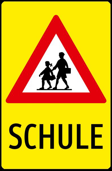 Schulweg fluoreszierend Hinweiszeichen URPI in Diamond Folie Typ3 Nr. 4083 fluor-neongelb, beklebt