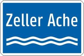 Hinweis auf Gewässer einzeilig   flaches Verkehrszeichen